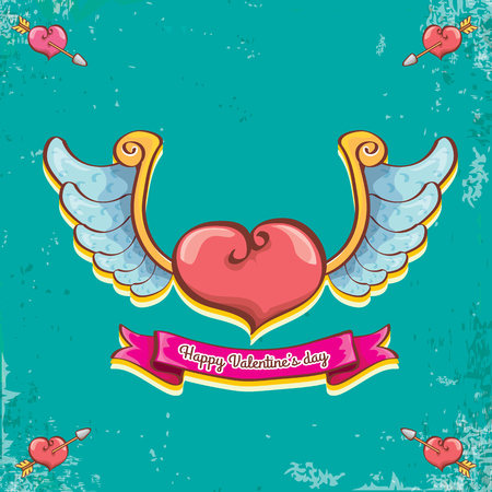 vector valentines day vintage cartoon tattoo style red heart label with angel wings and cartoon vintage pink ribbon on turquoise grunge background. Valentines day greeting card
