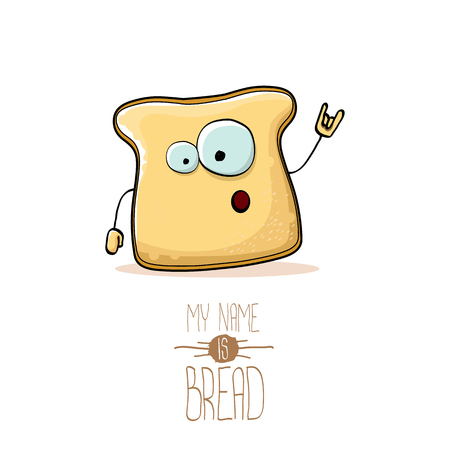 vector funny cartoon cute sliced bread character isolated on white background. My name is bread concept illustration. funky food character or bakery label mascot