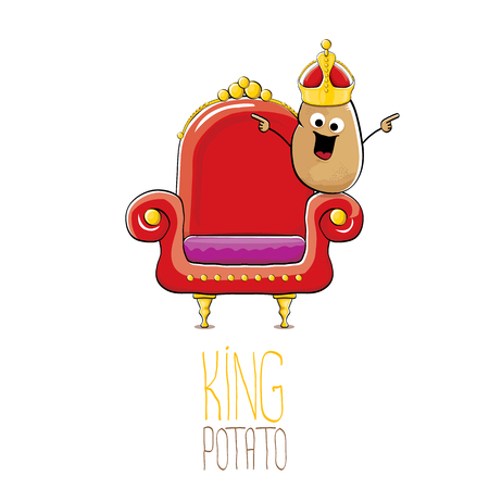 Funny vector cartoon cool cute brown smiling king potato with golden royal crown sitting on the throne isolated on white background. Vegetable funky food drawn character. Vettoriali