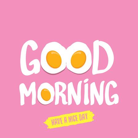 Spiegelei Vektor-Illustration . Guten Morgen Konzept . Frühstück gebratenes Huhn mit einem orange Eigelb im Zentrum des Spiegelei frisch auf rosa Hintergrund . Draufsicht Standard-Bild - 94225560