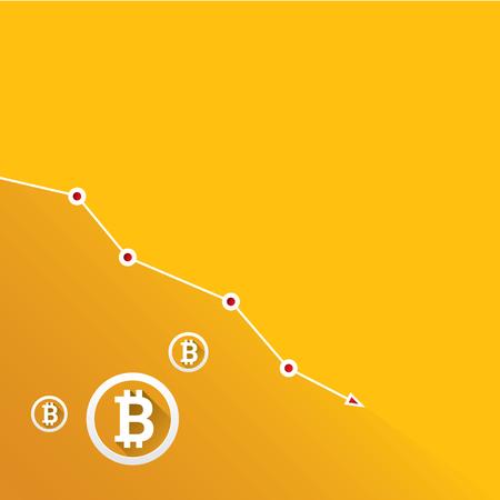 vector bitcoin market crash graph on orange background. Bitcoin hype concept vector illusrtation with blank space fo text. depreciation of bitcoin.