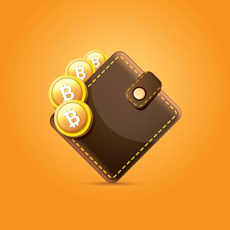 vector brown bitcoin wallet with coins isolated on orange background. bitcoin business concept Stock Vector - 94277652