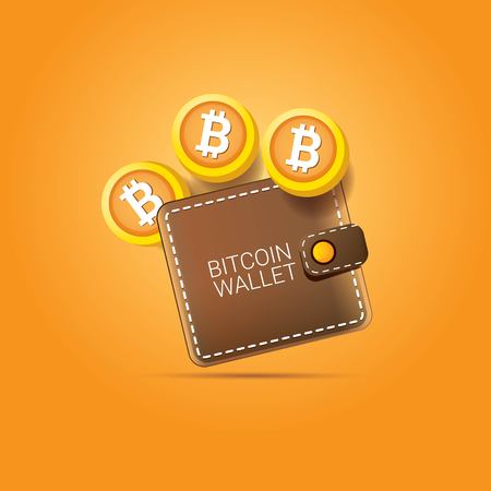 vector brown bitcoin wallet with coins isolated on orange background. bitcoin business concept