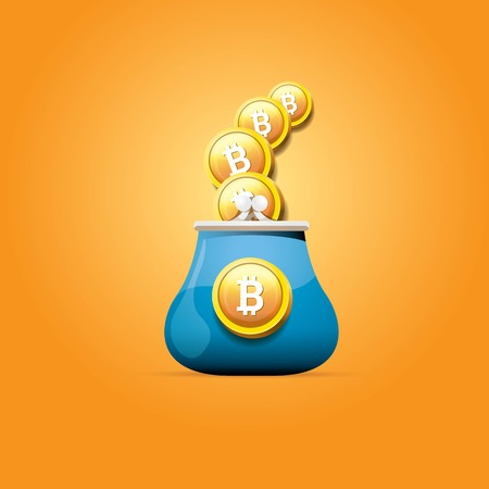 vector blue bitcoin wallet with coins isolated on orange background. bitcoin business concept