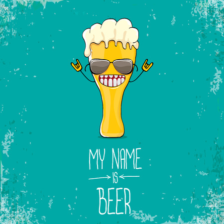 vector cartoon funky fresh beer glass character isolated on grunge azure background.vector beer comic label or poster