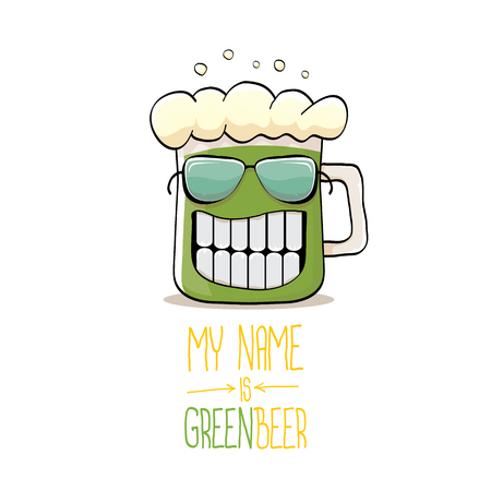 Vector cartoon funky green beer glass character with isolated on white background. vector beer label or poster design template. my name is green beer or happy st. patricks day concept illustration Illustration