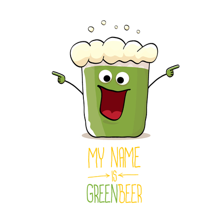 Cartoon funky green beer glass character Illustration