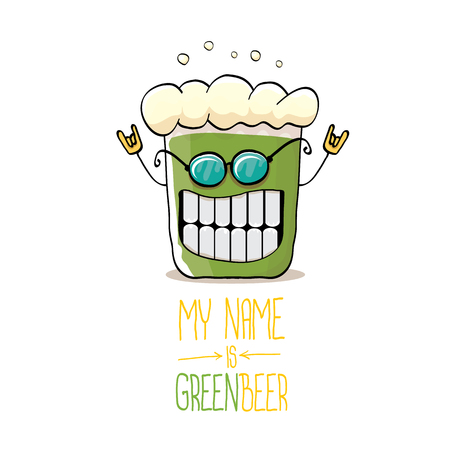 Cartoon funky green beer glass character with isolated on white background. Vector beer label or poster design template.