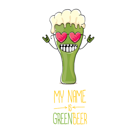 vector cartoon funky green beer glass character with isolated on white background. vector beer label or poster design template. my name is green beer or happy st. patricks day concept illustration
