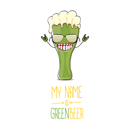vector cartoon funky green beer glass character with isolated on white background. vector beer label or poster design template. my name is green beer or happy st. patricks day greeting card