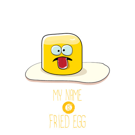 vector funny cartoon cute fried egg character isolated on white background. My name is fried egg concept illustration. good morning vector illustration