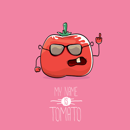 vector funny cartoon cute red smiling tomato character isolated on pink background. My name is tomato. vegetable funky food character