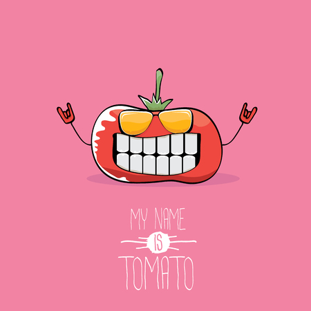 Vector funny cartoon cute red smiling tomato character isolated on pink background.