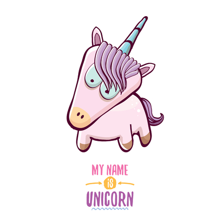 Vector funny cartoon cute pink fairy unicorn isolated on white background. My name is unicorn vector concept illustration, funky hand drawn character