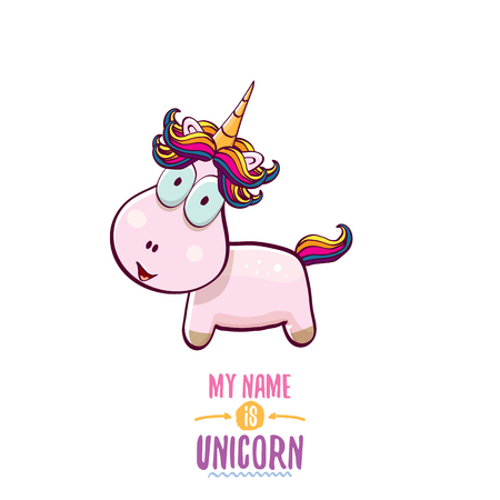 vector funny cartoon cute pink fairy unicorn isolated on white background. My name is unicorn vector concept illustration. funky hand drawn character