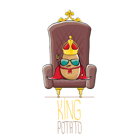 vector funny cartoon cool cute brown smiling king potato with golden royal crown and red mantle or cape sitting on brown throne isolated on white background. vegetable funky food drawn character