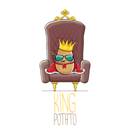 vector funny cartoon cool cute brown smiling king potato with golden royal crown and red mantle or cape sitting on brown throne isolated on white background. Illustration