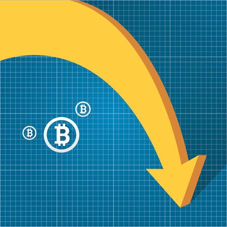 vector bitcoin market crash graph on blueprint background. Bitcoin hype concept vector illusrtation with blank space fo text. depreciation of bitcoin. Illustration