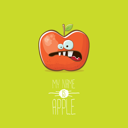 Vector funny cartoon cute red apple character