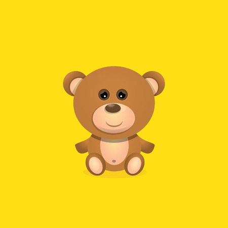 vector funny and cute Teddy bear cartoon character isolated on orange background .
