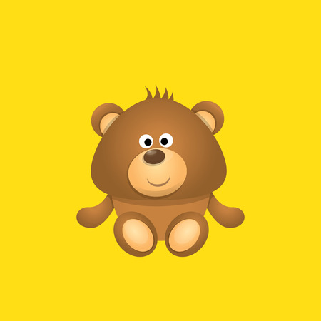 vector funny and cute Teddy bear cartoon character isolated on orange background. funny kids background or greeting card template with plush bear toy