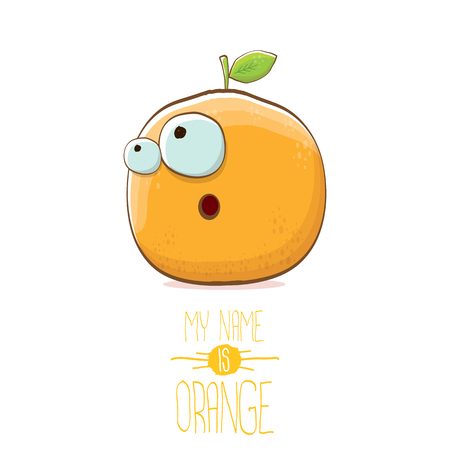 vector funny cartoon cute orange character isolated on white background.