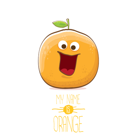 vector funny cartoon cute orange character isolated on white background. My name is orange vector concept. super funky citrus fruit summer food character 矢量图像