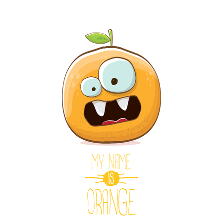 vector funny cartoon cute orange character isolated on white background. My name is orange vector concept. super funky citrus fruit summer food character  イラスト・ベクター素材