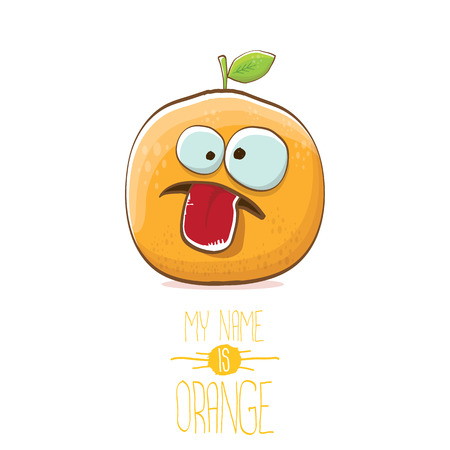 vector funny cartoon cute orange character isolated on white background. My name is orange vector concept. super funky citrus fruit summer food character Illustration