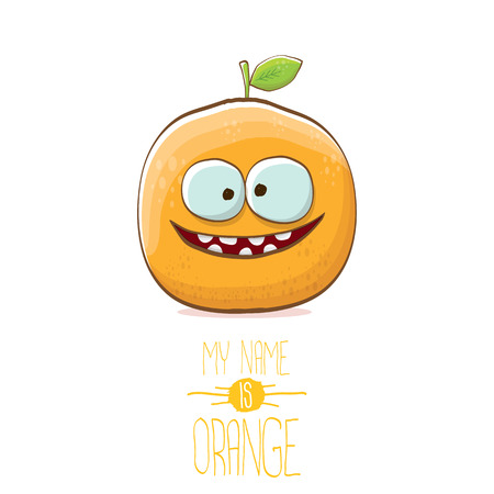 personaggio divertente cartone animato carino arancione vettoriale isolato su sfondo bianco. Il mio nome è concetto di vettore arancione. Carattere di cibo estivo super funky di agrumi