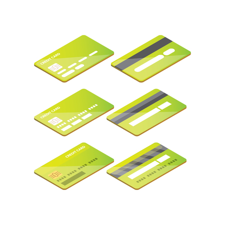 Isometric credit card icon set isolated on white background.
