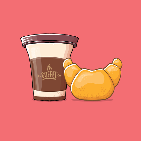 coffee and croissant isolated on pink background. vector coffee cup with cake