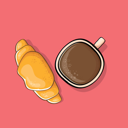 coffee and croissant isolated on pink background. vector top view coffee cup with flat lay cake cartoon style. Good morning cute graphic illustration