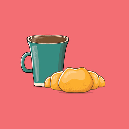 coffee and croissant isolated on pink background. vector coffee cup with cake cartoon style. Good morning illustration Illustration