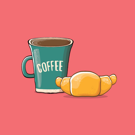 Coffee and croissant, isolated on pink background. vector coffee cup with cake cartoon style. Good morning illustration.