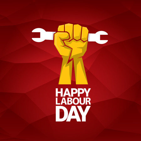 Happy labour day vector label with strong orange fist on red background. labor day background or banner with man hand. Illustration