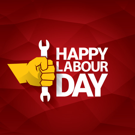 Happy labour day vector label with strong orange fist on red background. labor day background or banner with man hand. May day poster Illustration