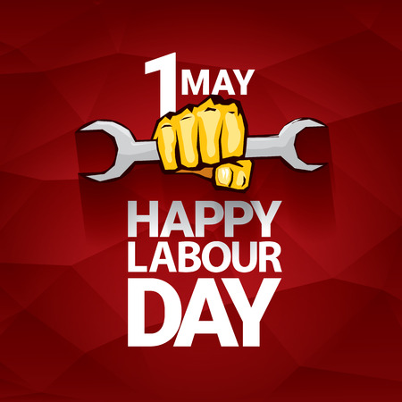 Happy labour day vector label with strong orange fist on red background. labor day background or banner with man hand. May day poster Vettoriali