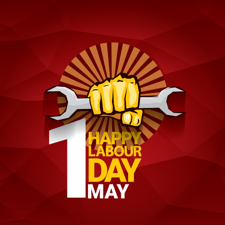 Happy labor day vector label with strong orange fist on red background. Labor day background or banner with man hand. May day poster.