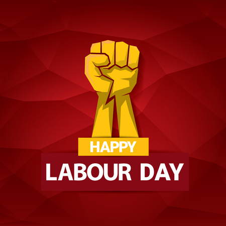 Happy labour day vector label with strong orange fist on red background. labor day background or banner with man hand. May day poster 向量圖像