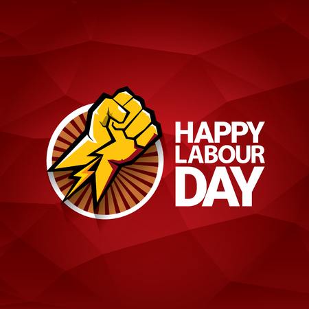 劳动节快乐向量标签与强大的橙色拳头在红色的背景。劳动节背景或横幅与人的手。五一的海报