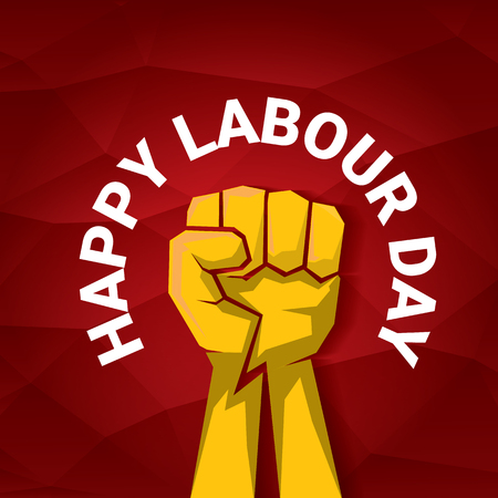 Happy labour day vector label with strong orange fist on red background. labor day background or banner with man hand. Ilustracja
