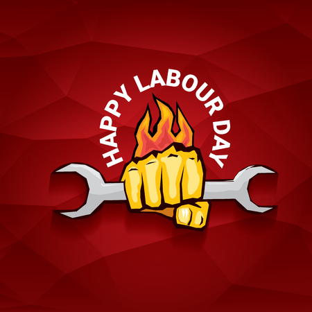 Happy labour day vector label with strong orange fist on red background. Labor day background or banner with man hand.
