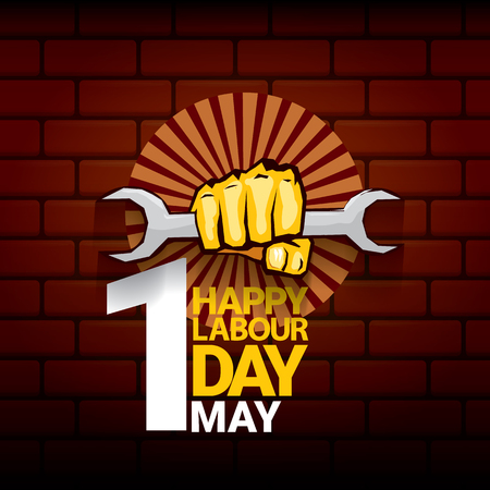 Happy labour day vector label with strong orange fist on red brick wall background. vector happy labor day background or banner with man hand. workers may day poster Illustration