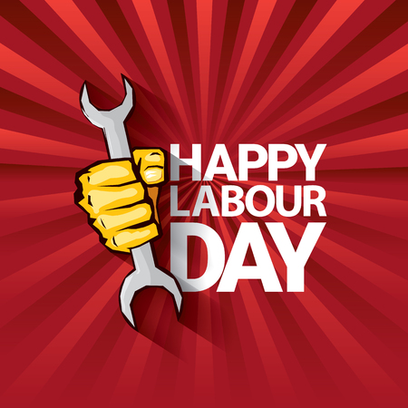 Happy labour day vector label with strong orange fist on red background with rays. labor day background or banner with man hand. workers may day poster Illustration