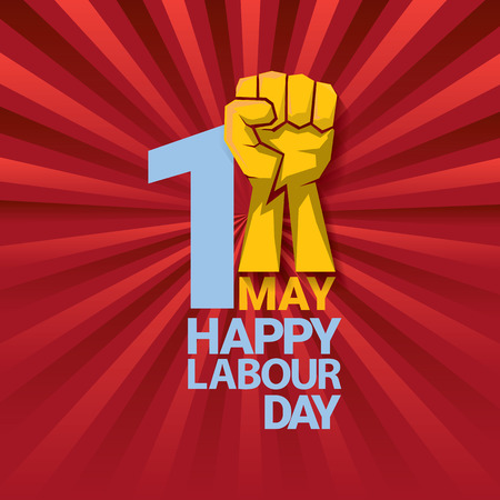 Happy labor day vector label with strong orange fist on red background with rays. Labor day background or banner with man hand.