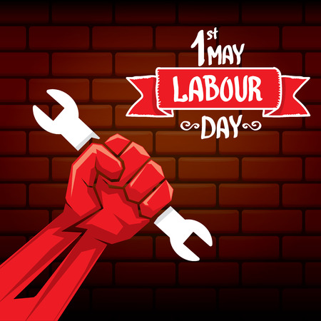1 may - happy labour day. vector happy labour day poster or banner with clenched fist. workers day poster. labour day label