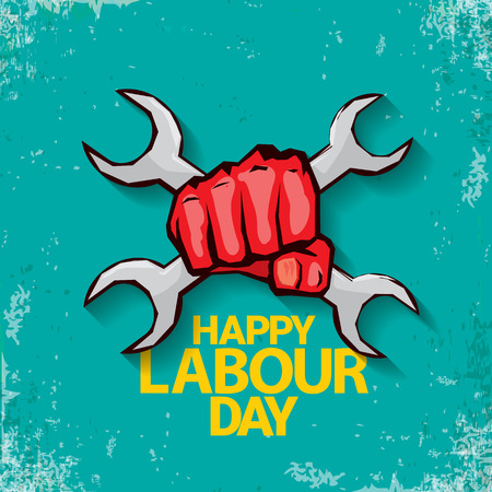 1 may Happy labour day label with strong red fist on turquoise background