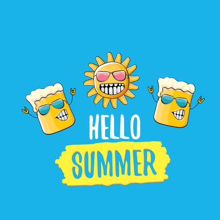 vector cartoon funky beer glass character and summer sun isolated on blue background. Hello summer text and funky beer concept illustration. Funny cartoon smiling friends.