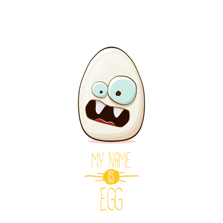 white egg cartoon characters isolated on white background. My name is egg vector concept illustration. funky farm food or easter character with eyes Illustration